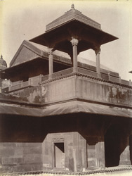 Close view of kiosk or chhatri above reception room of the Jodh Bai Palace, Fatehpur Sikri